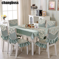 9pcs/set Embroidered Floral Table Cloth with Chair Covers Wedding Decor Tablecloth Rectangular Dining Table Covers Table Cloths