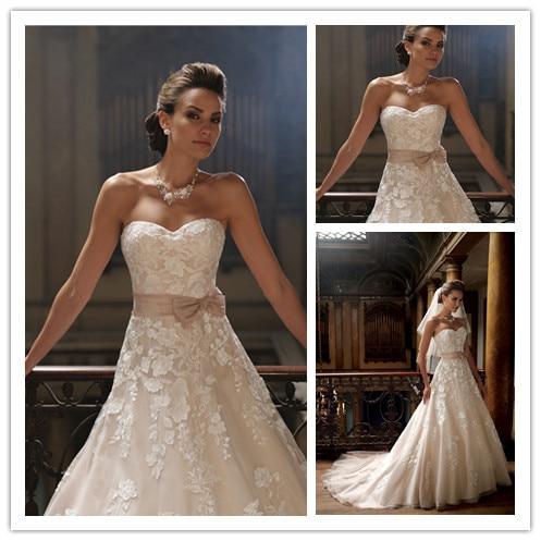 Vintage Wedding Dress Beige Wedding Gowns Applique Organza Bride ...