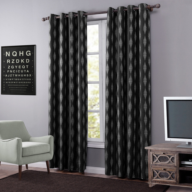 Hot Black Blackout Curtains For Living Room Thick Stripe Curtain Fabric Drapes Kitchen Modern