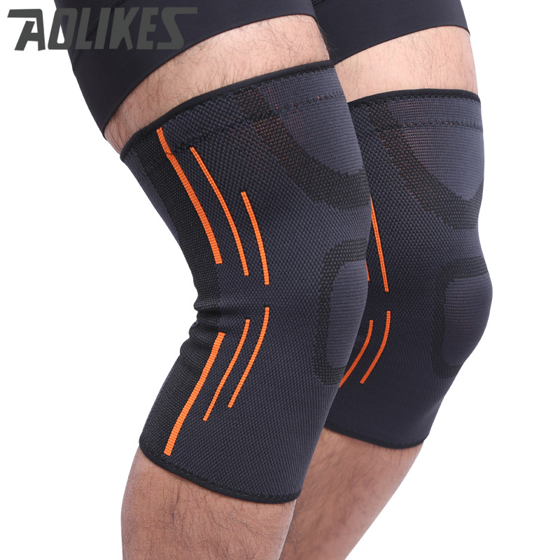 Aolikes 1 pcs high quality 3D weaving breathable elastic basketball knee brace badminton running outdoors sports knee support