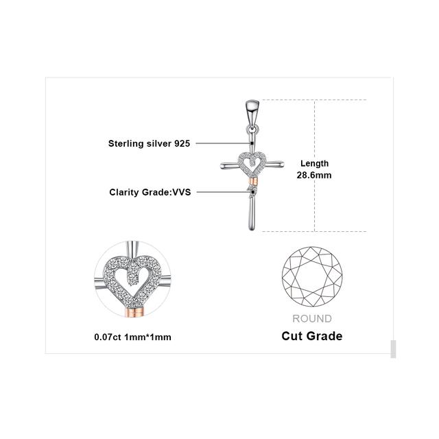 Cross Bow Heart Sterling Silver Pendant