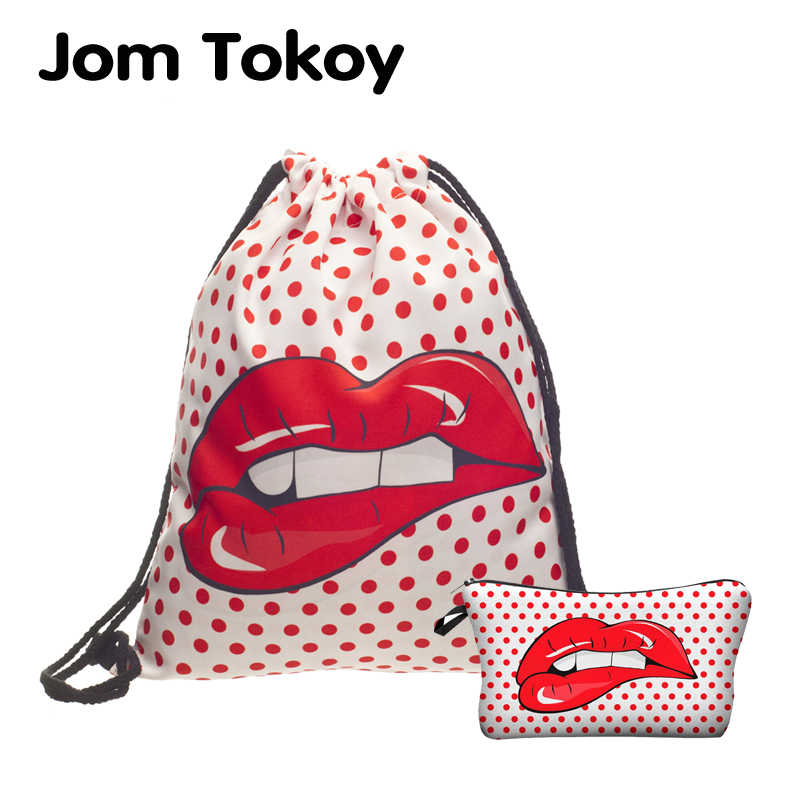 Jom Tokoy 2 PCS 3D Printing Women backpack Red wave dot big lips Drawstring bag Set Combination