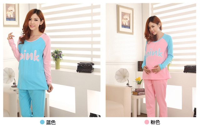 2in1 Use: Maternity Clothing Suits & Cotton Nursing Sleepwear Set for Pregnant Women Breast Feeding Clothes Spring Autumn Winter
