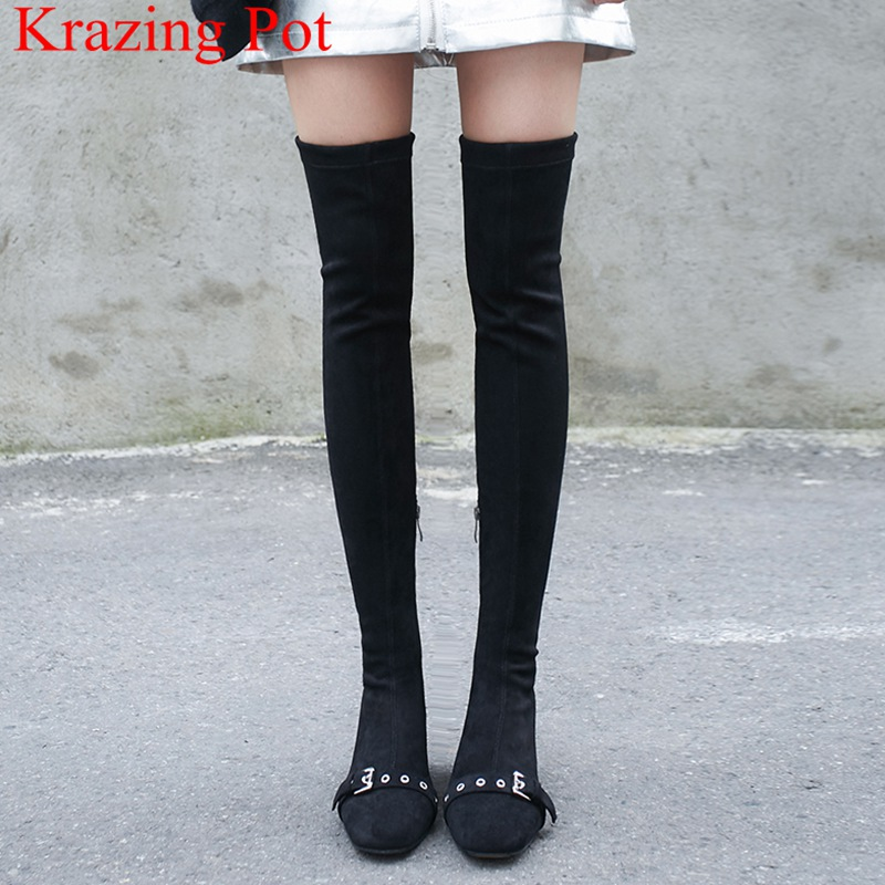 2018 New Arrival Big Size Square Heel Flock Zipper Buckle Zipper Thigh High Boots Solid Elegant Runway Over-the-knee Boots L52