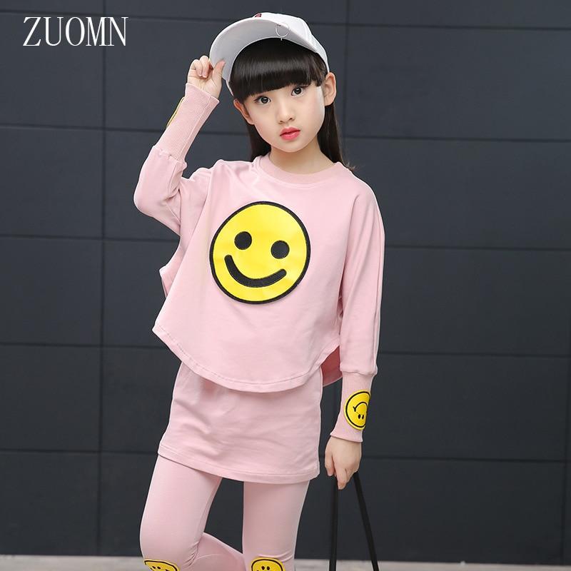 Spring Children Girls Smile Clothing Set Kids Sportswear Big Child Jacket Pants Twinset Girl 2pcs Clothes Sweatshirt Pants YL485