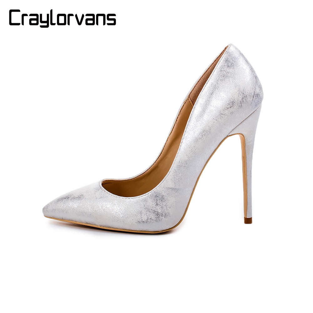 2019 NEW Womens Sexy Pointed Toe High Heel Slip On Stiletto Pumps Silver Golden Color Large Size Wedding Party Shoes2019 NEW Womens Sexy Pointed Toe High Heel Slip On Stiletto Pumps Silver Golden Color Large Size Wedding Party Shoes