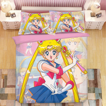 Sailor Moon Anime Bedding Set Tsukino Usagi Duvet Covers Pillowcases Sailor Moon Comforter Bedding Sets bedclothes bed linen twinkle dolly anime sailor moon tsukino usagi serenity luna black lady pvc action figure anime model kids toys doll 6cm 5pcs set
