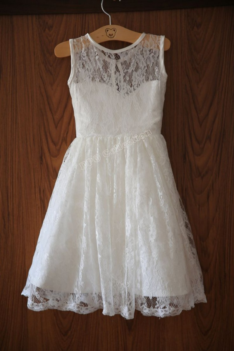 Ivory lace flower girl dresses vintage wedding dresses for Lace flower wedding dress