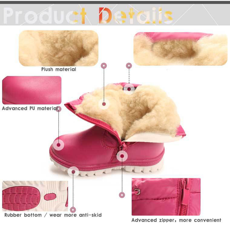 22-27 children diamonds Boots Winter Warm plush Baby Boot Waterproof Soft Bottom PU leather Booties Kids Shoes butterfly rubbler