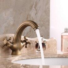 Оптовая продажа высокое качество ванной бассейна античная латунь Faucets двойная ручка Faucet кран смеситель AF1039