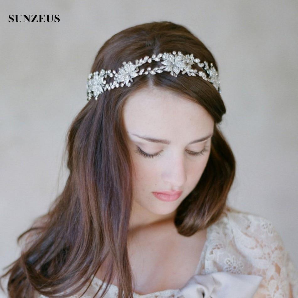 New Crystal Bridal Head Accessories Flower Headband Double Bride Hair Chain Gold / Silver Head Sash hochzeitsaccesoires SQ0198