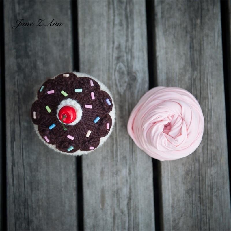 Jane Z Ann Cute Newborn photo props baby  cake  theme costume doughnut hat cherry prop wrap studio shooting accessories 2