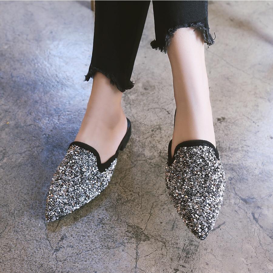 Diapositives Pantoufles Sandales Femelle Fermé Confortable forme Bout Chaussures Plate Toe Pointu De Femmes Black Sandale D'été Bling silver Slingback qFaCvqd