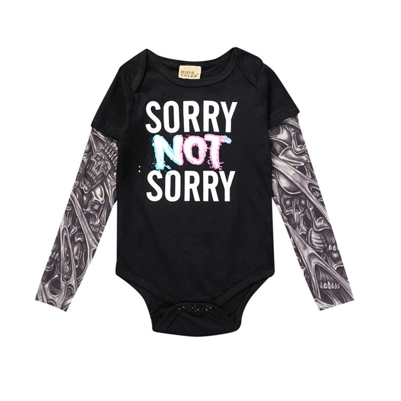 2017 Creative Tattoo Skull Printed Baby Boy Cotton Romper Newborn Infant Bebe Jumpsuit Hip Hop Toddler Kids Clothing Set Costume puseky 2017 infant romper baby boys girls jumpsuit newborn bebe clothing hooded toddler baby clothes cute panda romper costumes