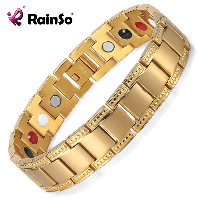 93e87ef3b59 Or couleur Bracelet Hommes Titane Équilibre Guérison 4 Éléments Puissance Magnétique  Bracelets   Bangles Meilleur Cadeau OTB 1284G dans Chaîne et de Lien ...