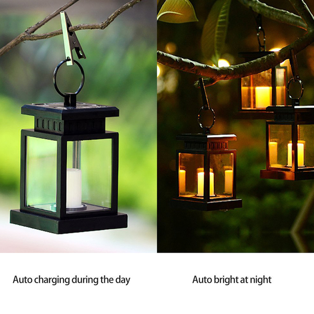 High Quality 6pcs Led Solar Light Lamp Led Candle Lantern Chandelier Hanging Garden  Light With Clip Outdoor Patio