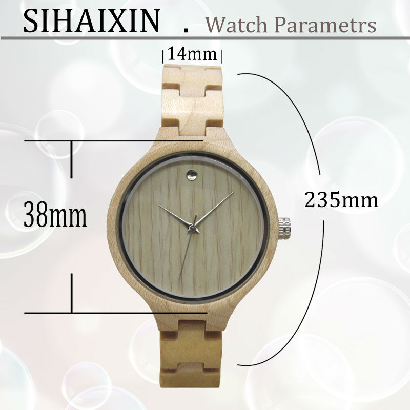 wood watch size