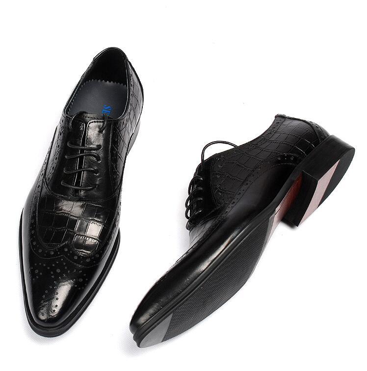 Señaló Genuino Casual Masculinos Derby De Cuero Vestido A Elegante Up Cuadros Dedos Celosía Zapatos rojo Tipo Brogue Diamante Lujo Negro Lace Tallada aB8xAq4EwA