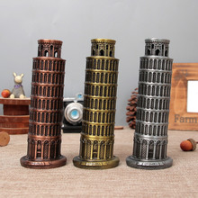 Handmade Household Decoration Figurine Retro Leaning Tower of Pisa Model Metal Crafts Office Ornaments Gifts Auspicious Tower