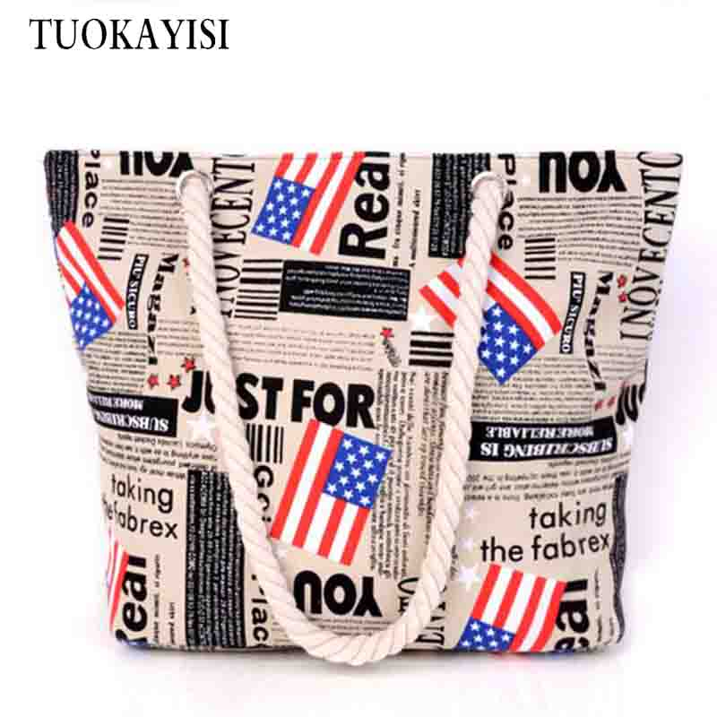 2017 Summer Women Handbags Canvas Shopper Bag Ladies Beach Bags Large Capacity Folding Shopping Bag Casual Totes Reusable