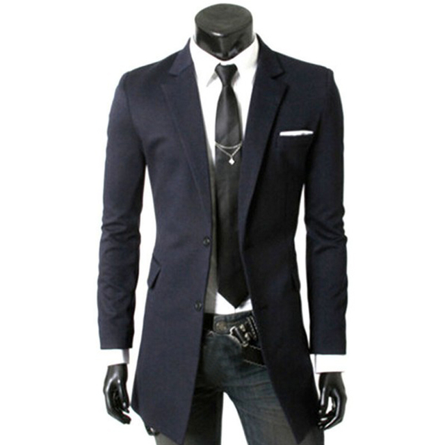 Blazer Men New Brand Fashion Long Blazer Man Casual Slim Medium-long Jacket Coat Suit 3 Colors Plus Size XXL Coat