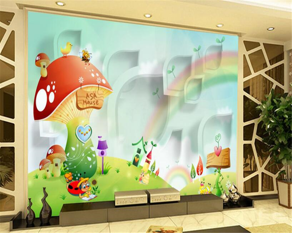 Zimmer Tapete Us 9 3 38 Off Beibehang Nach Foto Tapete 3d Cartoon Wandmalereien Cartoon Haus Regenbogen Mode Kinder Zimmer Tapete Malerei Papel Parede In