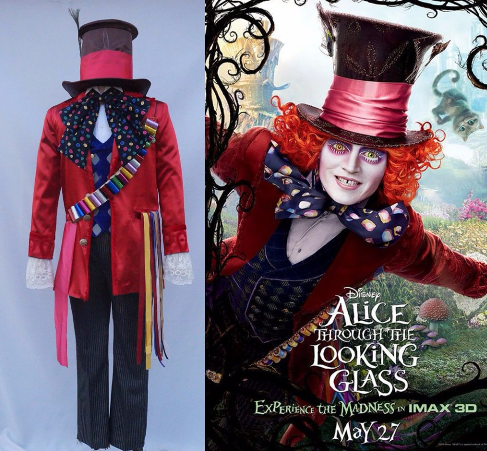 Alice in Wonderland 2 Mad Hatter Cosplay Costume Adult Costumes for Halloween/Carnival Party Cosplay Costumes for Women/Men