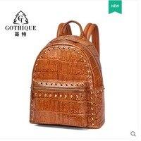Gete крокодиловая Новинка 2019 кожаная сумка с большой емкостью крокодиловый стиль живота сумка для женщин рюкзаки