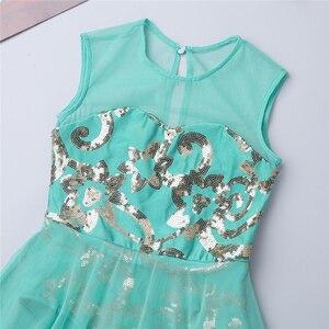 Image 4 - Dziewczęta elegancka sukienka maxi liryczne kostiumy do tańca nowoczesny taniec baletowy sukienka łyżwiarstwo gimnastyka trykot zużycie sceniczne