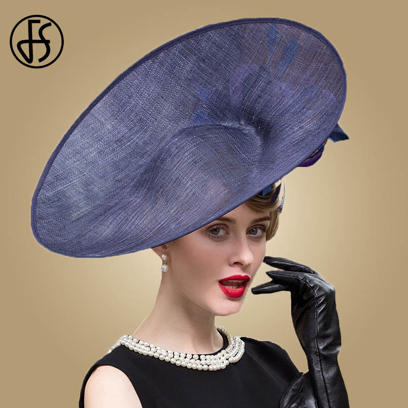FS Fascinators Blue Hat Women Large Brim Flowers Linen Royal Wedding Fedoras Ladies Sinamay Hats Kentucky Derby Party Fedora