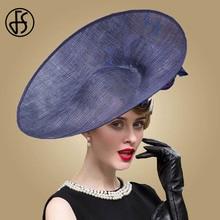 FS перо вуалетки Королевский синий шляпа для женщин фетровые шляпы с большими полями Цветы Свадебные Кентукки Дерби дамы Sinamay шляпы вечерние шляпы Fedora