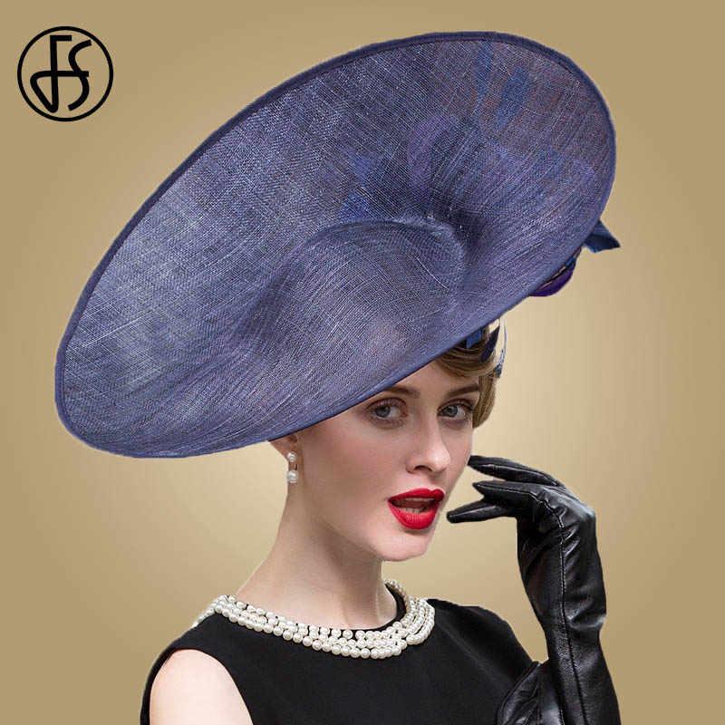 212dda007 FS Fascinators Blue Hat Women Large Brim Flowers Linen Royal Wedding ...