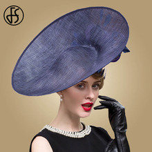 FS נוצת Fascinators כחול כובע נשים מגבעות לבד אפס מקום גדול מגבעות לבד פרחי חתונת קנטאקי דרבי כובעי גבירותיי Sinamay מגבעת צד