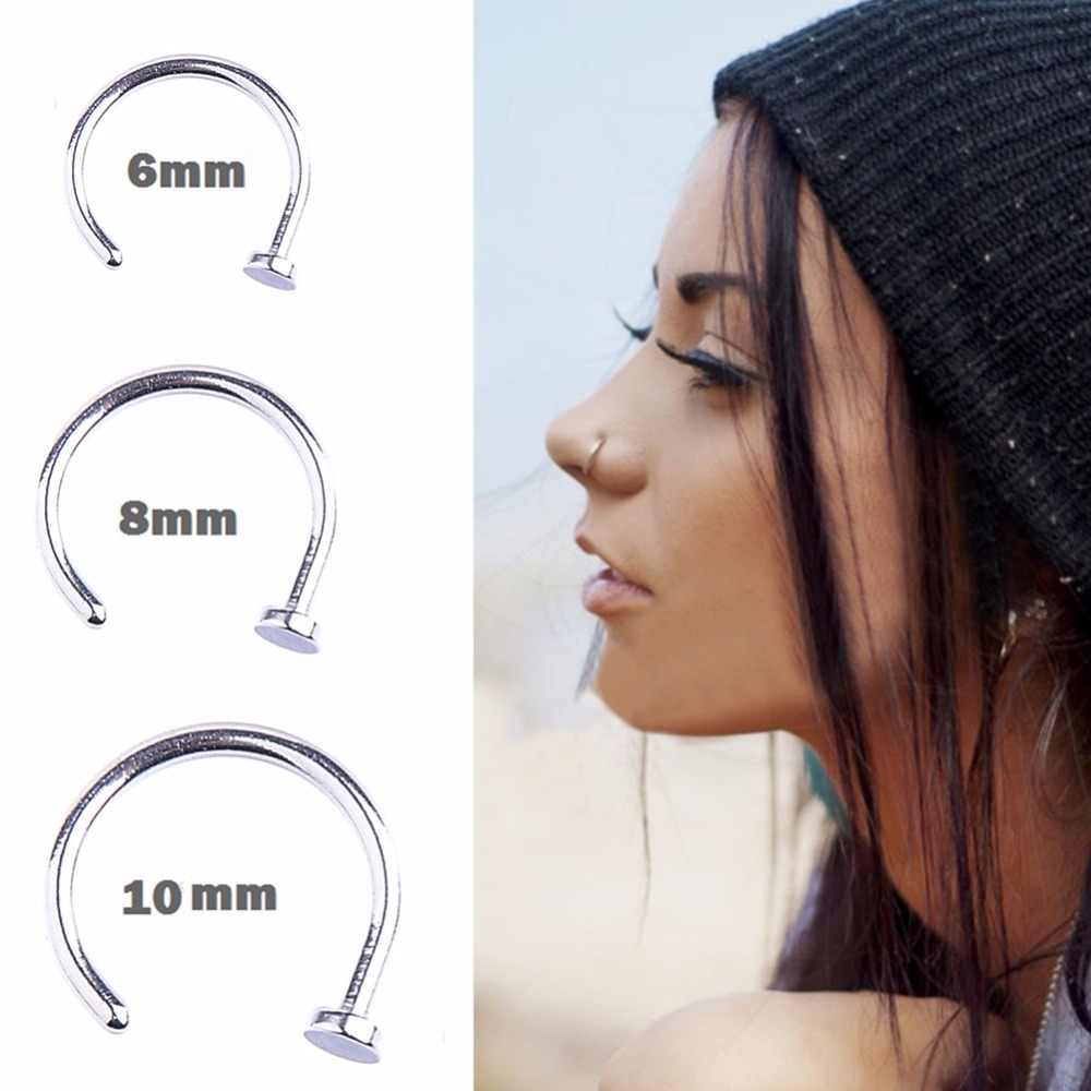 1pc Stainless Steel 6 8 10mm Nostril Nose Hoop Stud Ring Clip On