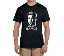 Sergio Ramos face logo tee 100% cotton cool t shirts Mens o-neck fashion T-shirts fans gift 0216-19