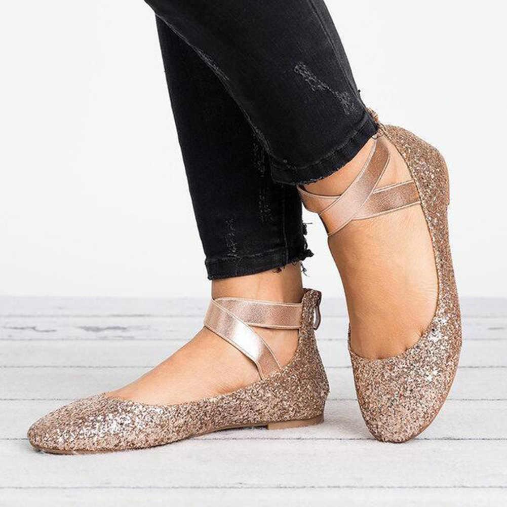 6e028509160df ... Women Summer Casual Flat Shoes Plus Size 43 Female Ballet Flats Flock  Zipper Slip-on
