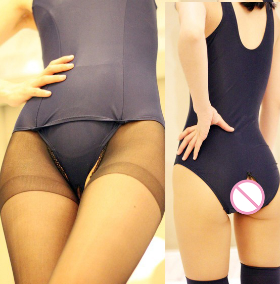 Sexy Lingerie Tight Open File Crotch One Piece Bikini Cosplay Taste Bathing Swimsuit Sexy Underwear Sukumizu Japanese Swimwear L