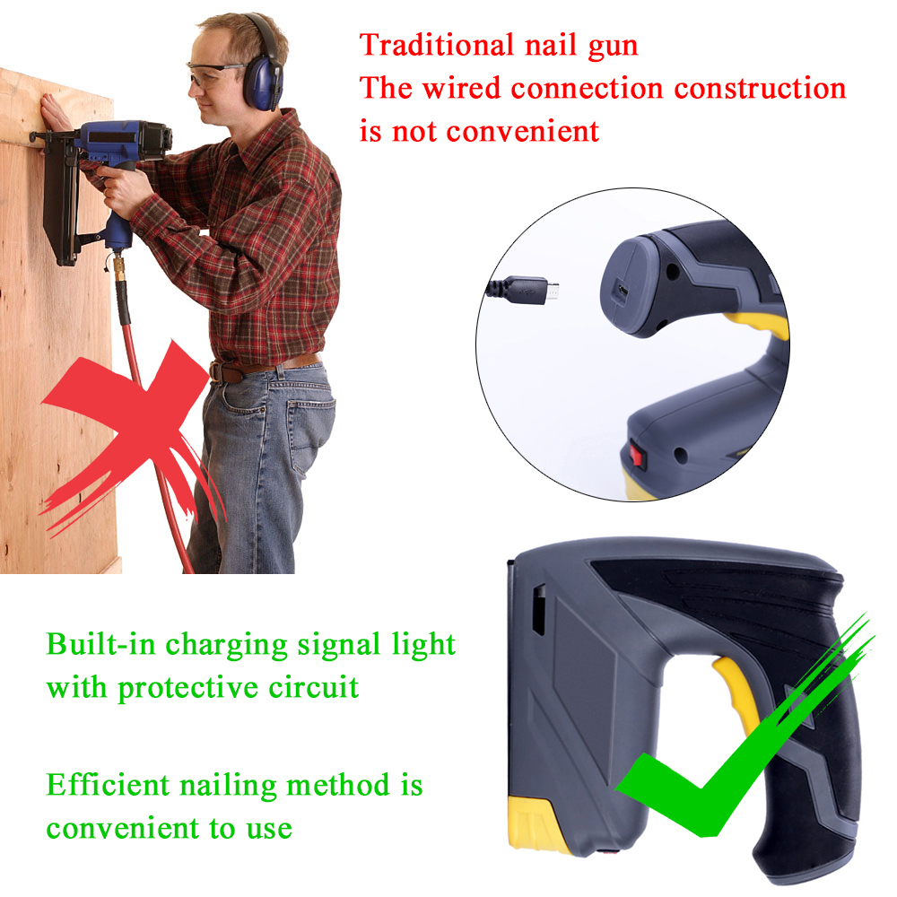 Wireless Electric Rechargeable Nailer Portable Home Nailer Staple Installation Woodworking DIY Furniture StaplerWireless Electric Rechargeable Nailer Portable Home Nailer Staple Installation Woodworking DIY Furniture Stapler