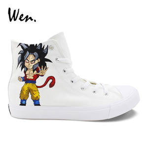Wen Canvas Sneakers Plimsolls White Shoes Platform Dragon-Ball-Design Custom High-Top