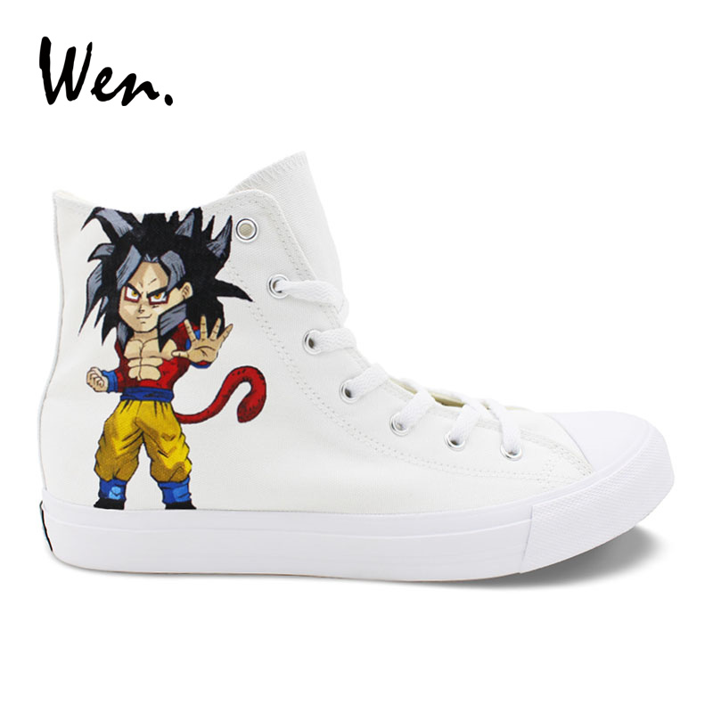 Wen Custom Hand Painted Shoes Dragon Ball Designs Canvas Sneakers Unisex High Top White Casual Anime Shoes Boy Flattie