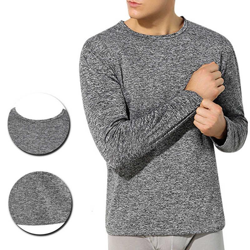 2019 зимнее термобелье мужские топы Теплые эластичные пижамы с круглым вырезом и длинными рукавами Топы мягкие однотонные тонкие футболки мужская одежда