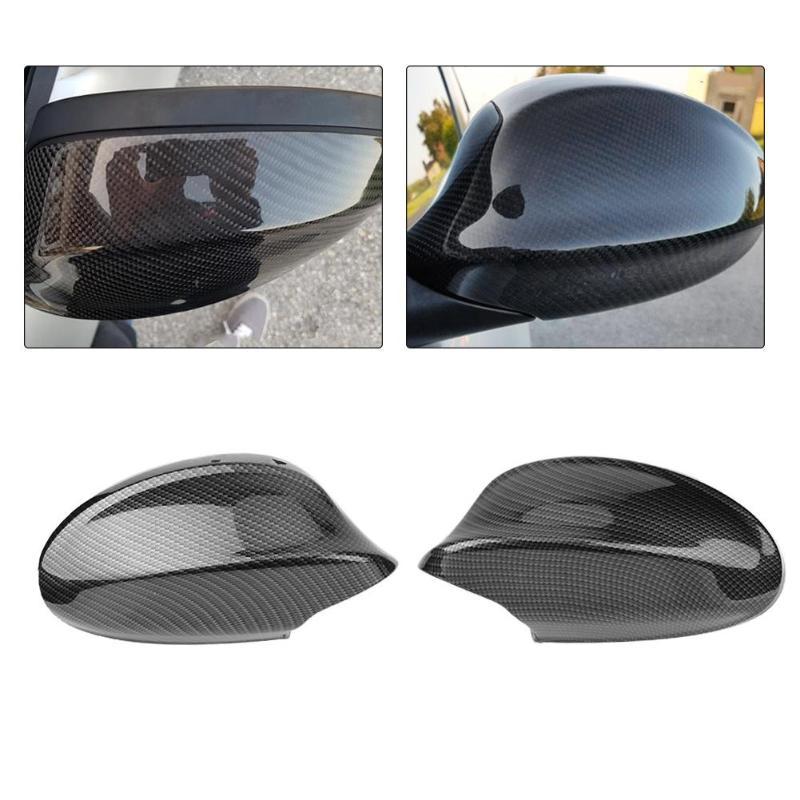 Noir En Fiber De Carbone De Voiture Rétroviseur Côté Miroir de Couverture Arrière Cap Convexe pour BMW 3 Série E90 4D Berline 316i 318i 320i 325i 330i 320d