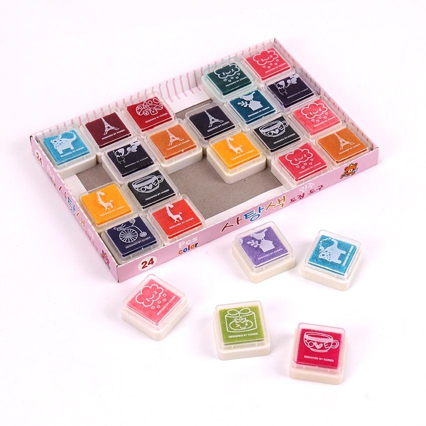24PCS Colors Fingerprint Kids Toy Cute Inkpad Cartoon Stamp Craft Oil Based DIY Ink Pads For Rubber Stamps Scrapbook Decor