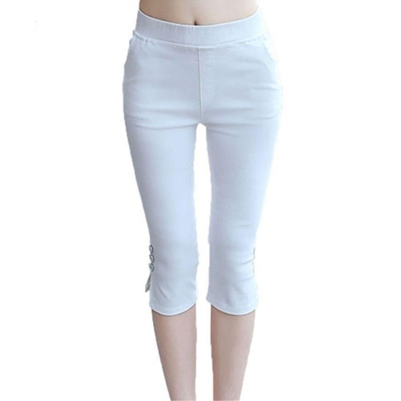 Womens Fashion Summer Sexy Soft nny Stretch Solid Color Capri Pants Leggings