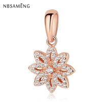 Mới Đích Thực 925 Sterling Silver Charm Bead Rose Crystal Gold Flower Pendant Charms Fit Pandora Lắc Bangles DIY Jewelry
