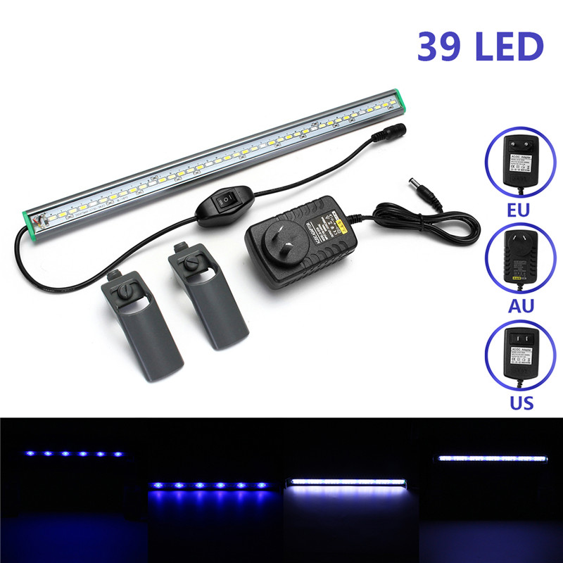 LED Bar Lights 40cm 39 LEDs Fish Tank Aquarium Light White Blue AC110-240V EU/US/AU Plug Lamp Clip On Waterproof Bar
