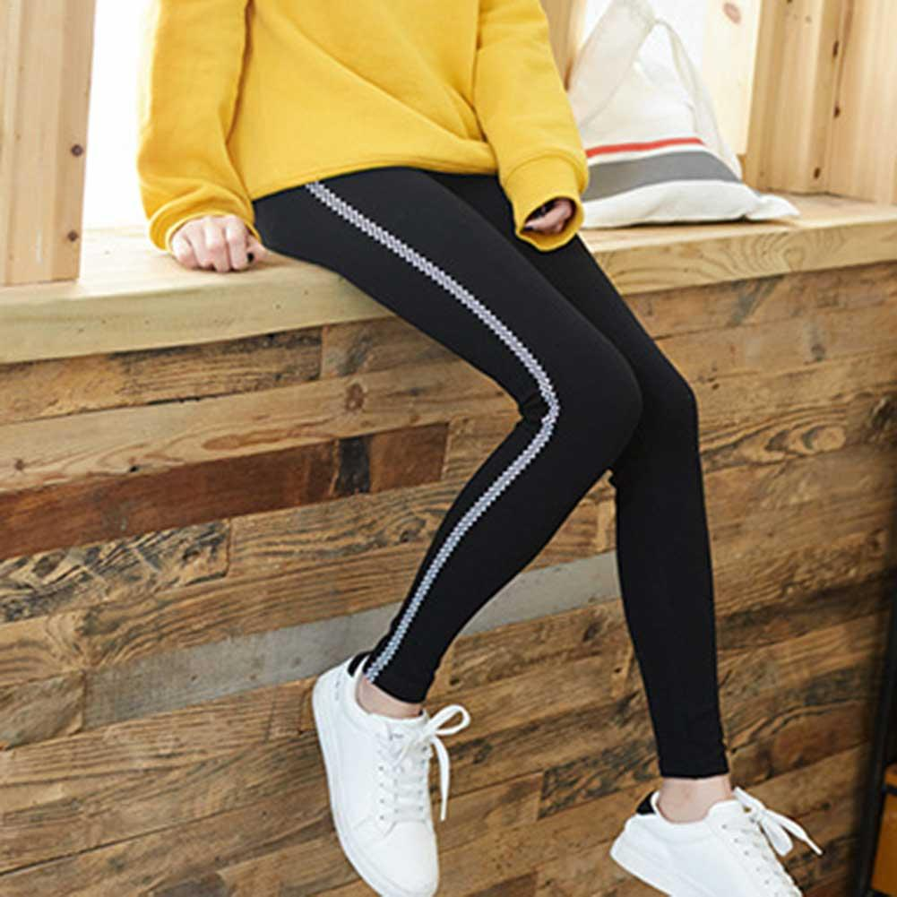 autumn new Casual Fashion Sports Black Leggings Side Strips Outer Wear   Capri     Pants   For Women