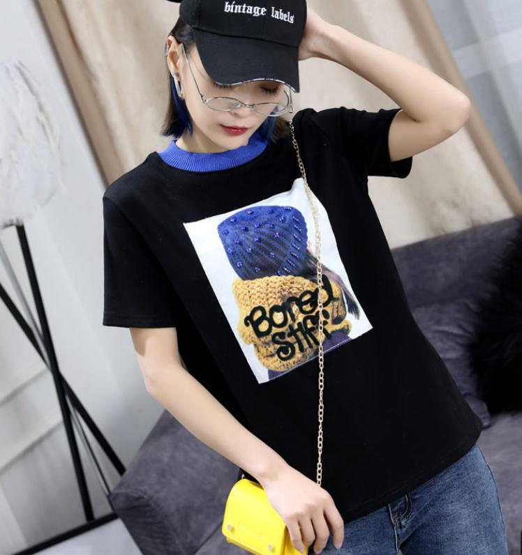Short Sleeve Tee Woman 2019 Summer Splicing O-neck Printing Beaded T Shirt Women Pure Cotton T-shirt Girls Student T-shirts Tops
