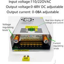 DIY LED U-HOME AC110/220 do DC0-60V 8A prąd napięcie regulowane pokrętło tryb przełączania zasilanie dla 100W/200W/300W COB LED