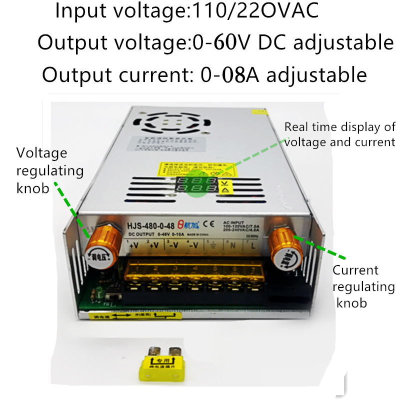 MARSWALLED AC110/220 To DC0-60V 8A Current Voltage Adjustable Knob Switching Mode Power Supply For 100W/200W/300W COB LED